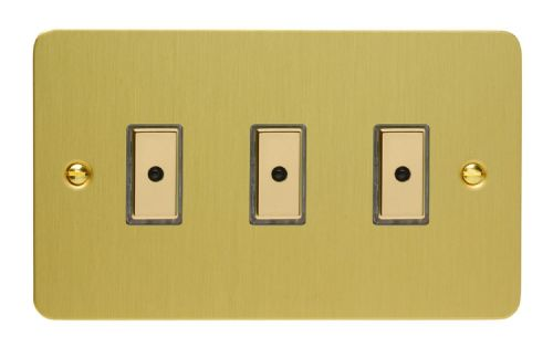 Varilight JFBE103 Ultraflat Brushed Brass 3 Gang V-Pro Remote/Touch Master LED Dimmer 0-100W